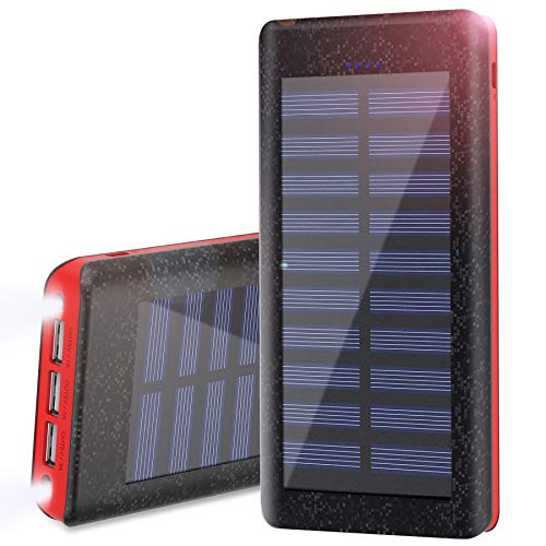 Wiswan Batería Externa Power Bank 24000mAh, Cargador Solar Puerto de Alta Velocidad, 2...